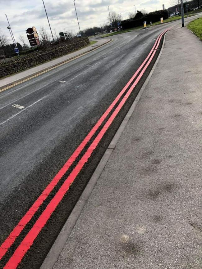 Red lines outside Leeds Bradford Airport.