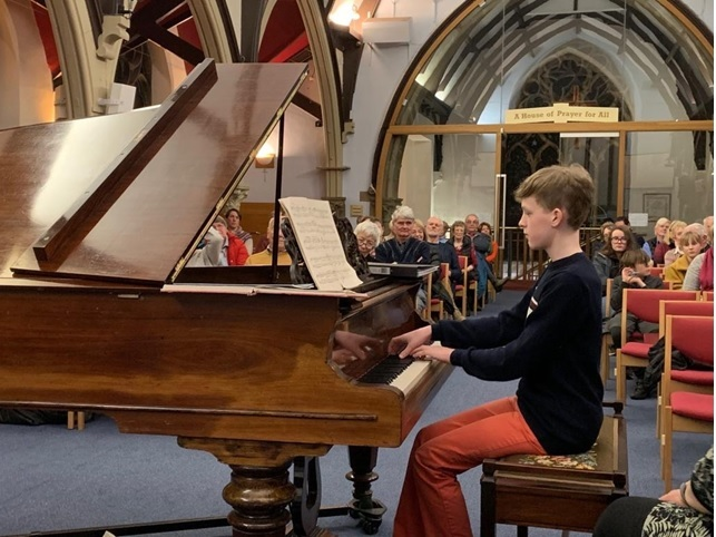 Callum Whitton pictured at his piano recital at Christchurch on The Grove, Ilkley