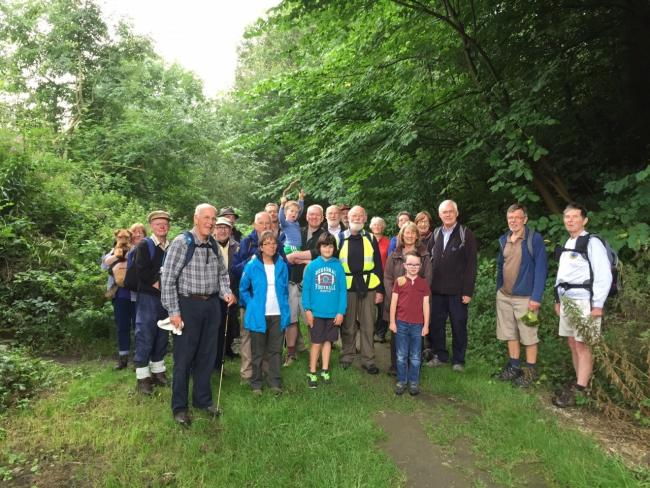 Supporters, including local councillors, walking part of the proposed Wharfedale Greenway.
