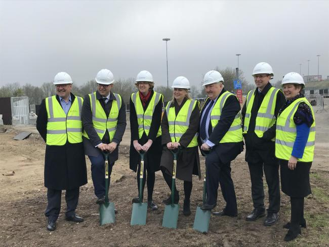 Aviation Minister Liz Sugg saw work start on the terminal extension.