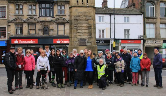 The walkers - including Maisie Dixon, centre - who took part in the Think Pacific fundraiser at Otley