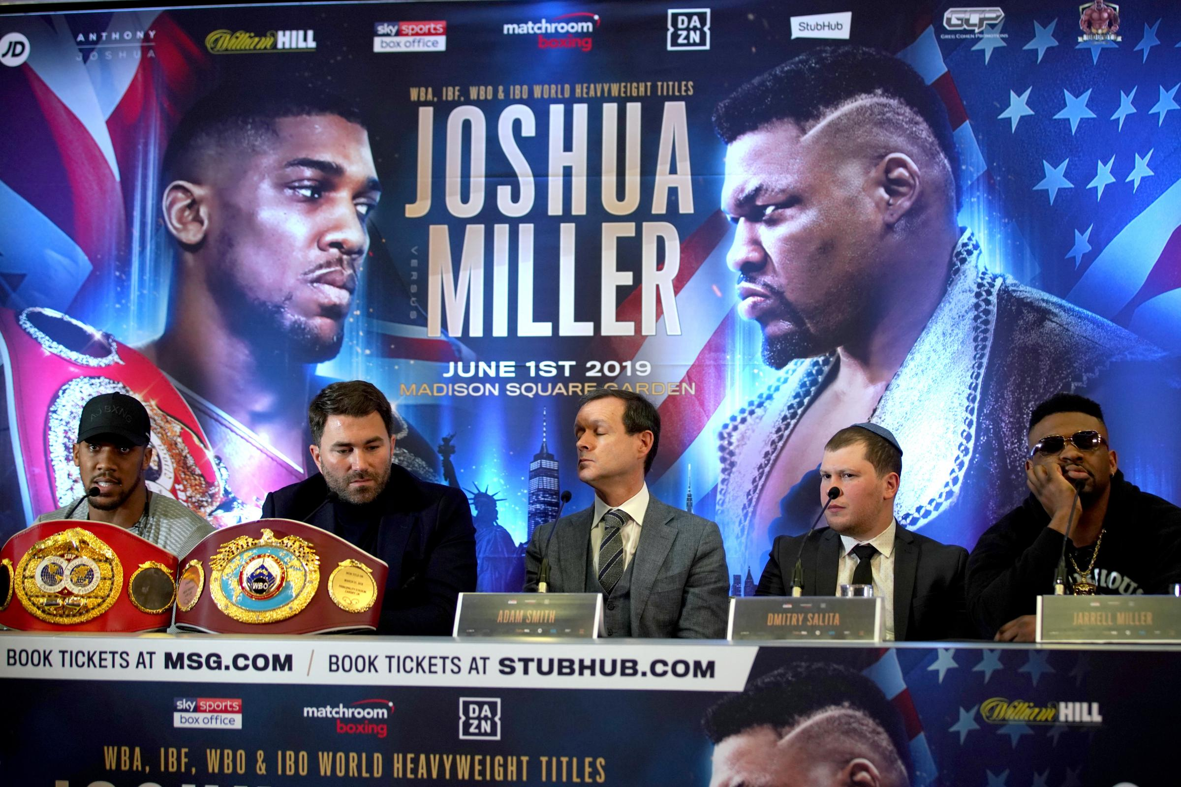 Anthony Joshua (left) and Jarrell Miller (right) were due to face each other in New York this summer