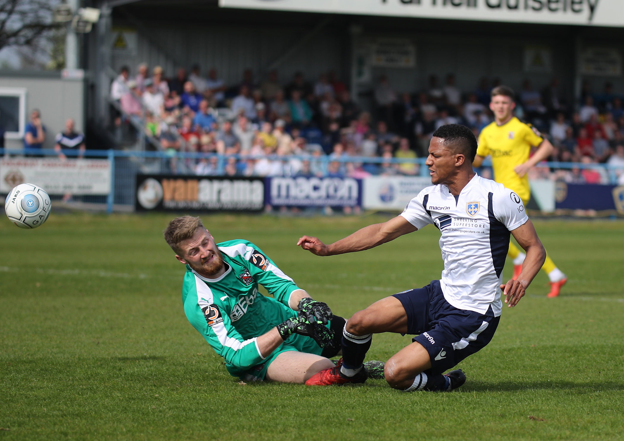 Guiseley's Kaine Felix scores against Darlington in their 1-0 win in the Vanarama National League North on Monday. Picture: Alex Daniel Photography