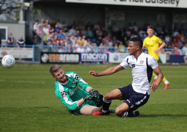 Guiseley's Kaine Felix scored for his side in their 2-1 friendly defeat to Leeds United. Picture: Alex Daniel Photography