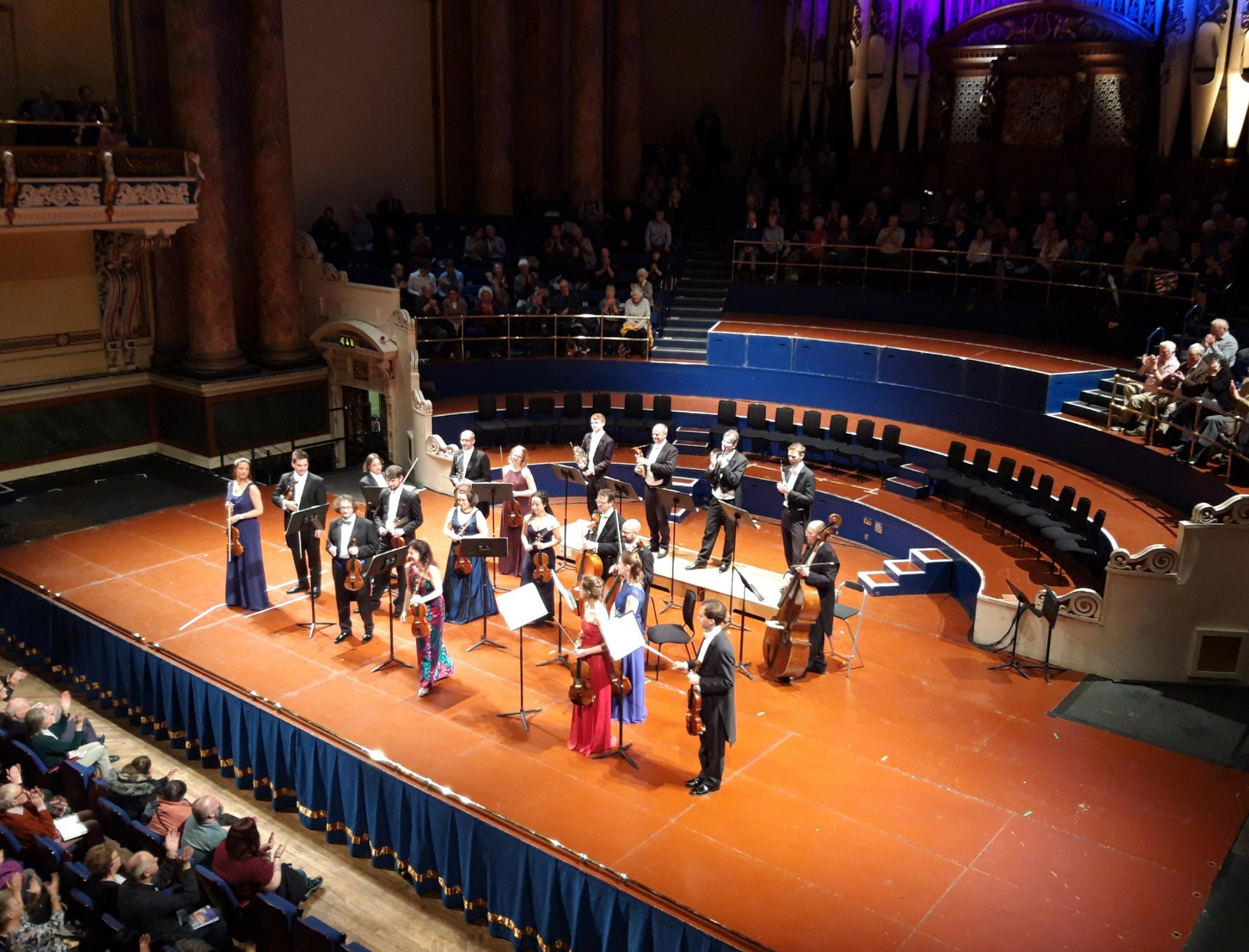 Tasmin Little (front row centre) and the European Union Chamber Orchestra at Leeds Town Hall
