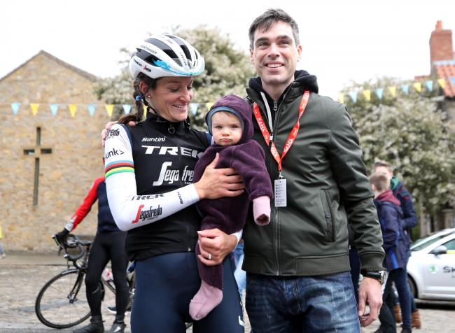 Lizzie Deignan, pictured with daughter Orla on stage one of the Women's Tour de Yorkshire   Picture: Bradley Collyer/PA Wire