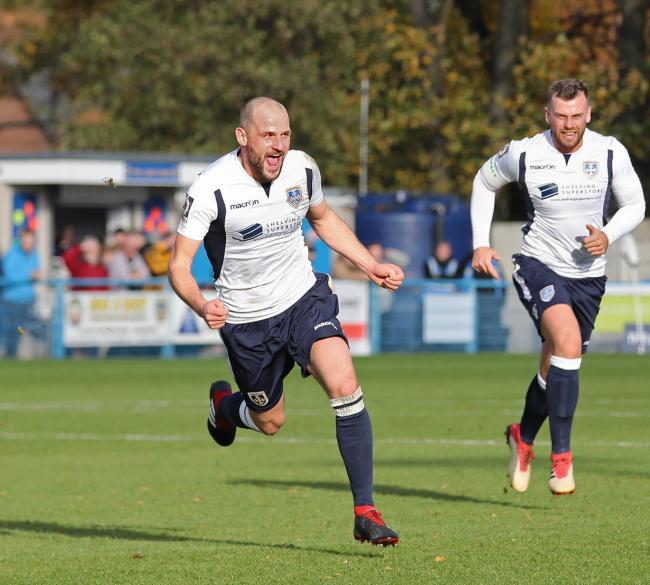 Will Hatfield celebrates his wonder strike in his Guiseley side's 4-3 win over League Two Cambridge United in the FA Cup first round. Picture: Alex Daniel Photography.