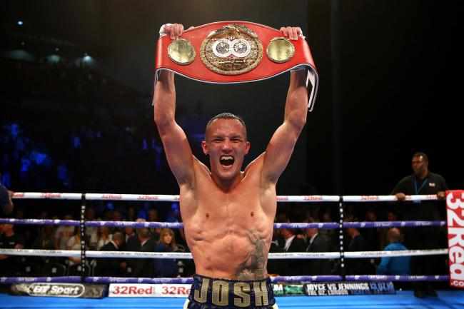 Josh Warrington celebrates his win against Kid Galahad